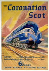 The Coronation Scot. LMS Vintage Travel Poster by Bryan de Grineau. 1937